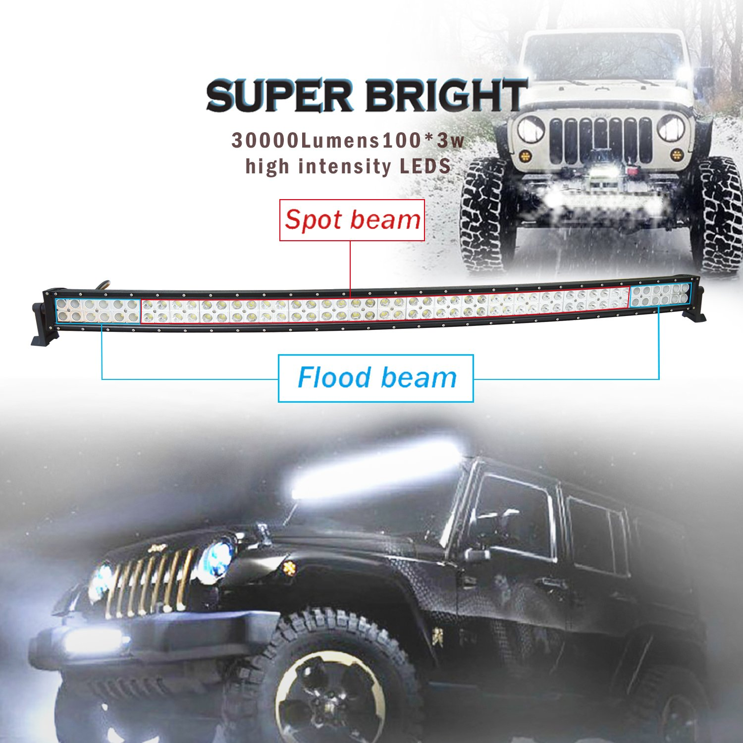 Easynew Ip68 300w 10 30v Waterproof Curved Led Light Bar 1995 Dodge Ram 1500 4x4 52 I Need The Diagramecmharness Inch With 2 Piece 18w Lights And Wiring Harness Mounts Automotive