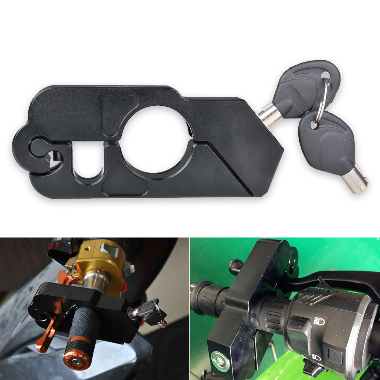 KaTur Motorcycle Grip Lock - Universal Aluminum CNC Motorcycle Handle Throttle Grip Security Lock with 2 Keys to Secure a Bike, Scooter, Moped or ATV in Under 5 Seconds -Black