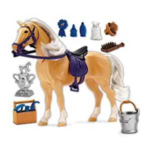 Blue Ribbon Champions Deluxe Palomino Toy Horse with Realistic Hair, Grooming Supllies, 14 Reaslitic Accessories and Articulated Horse Movements that Produce Realistic Horse Sounds when Engaged