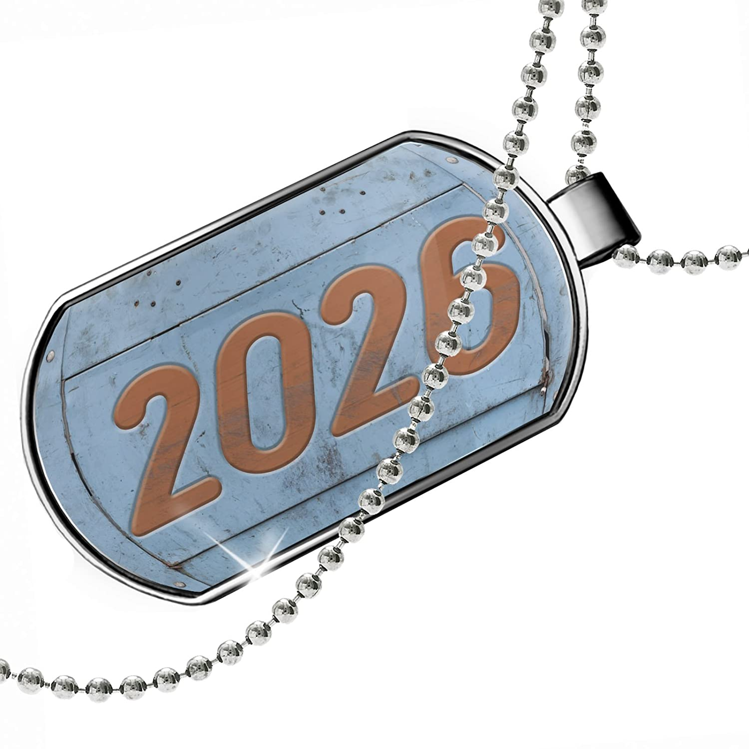 NEONBLOND Personalized Name Engraved Orange Vintage Looking Year 2026 Dogtag Necklace