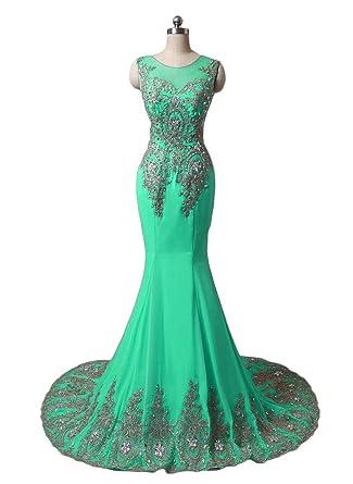 fdbcc48059d4 Dydsz Long Evening Party Dresses for Women Formal Weddings Mermaid Beaded  Plus Size D86 Aqua 2