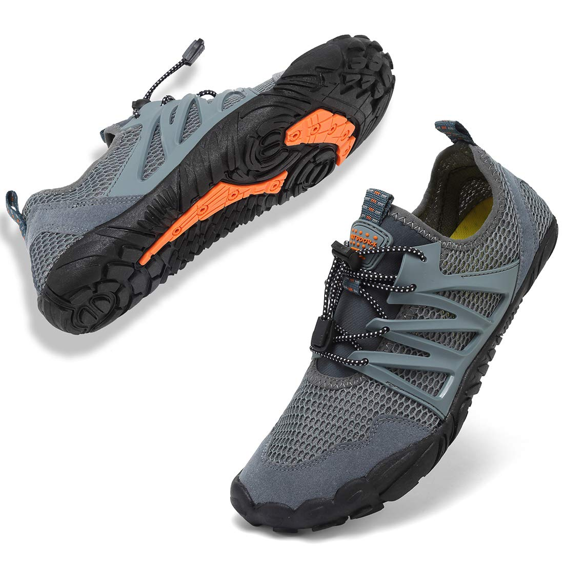 VIFUUR Mens Womens Aqua Shoes Quick Dry Water Shoes Outdoor Indoor Shoes Boating Kayaking Diving Beach Swim MGray 43 by VIFUUR