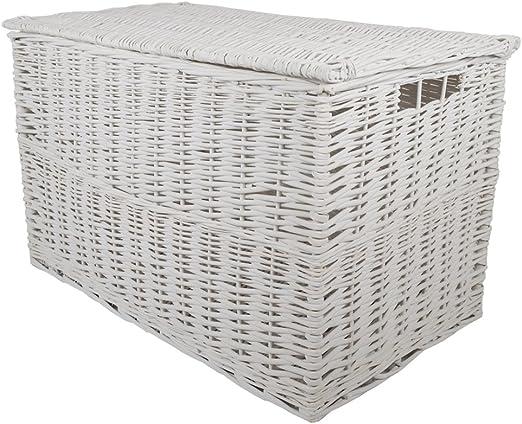 Blanco mimbre cesta de almacenamiento extra grande/Trunk/cesta/caja para juguetes/regalo Hamper: Amazon.es: Hogar
