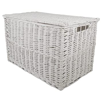Marvelous White Wicker Extra Large Storage Hamper / Trunk / Basket / Toy Box / Gift  Hamper