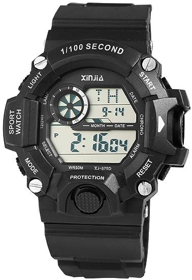 diseño de calidad 9b0c4 9adb5 Xinjia - Reloj Digital de Pulsera para Hombre (Silicona ...