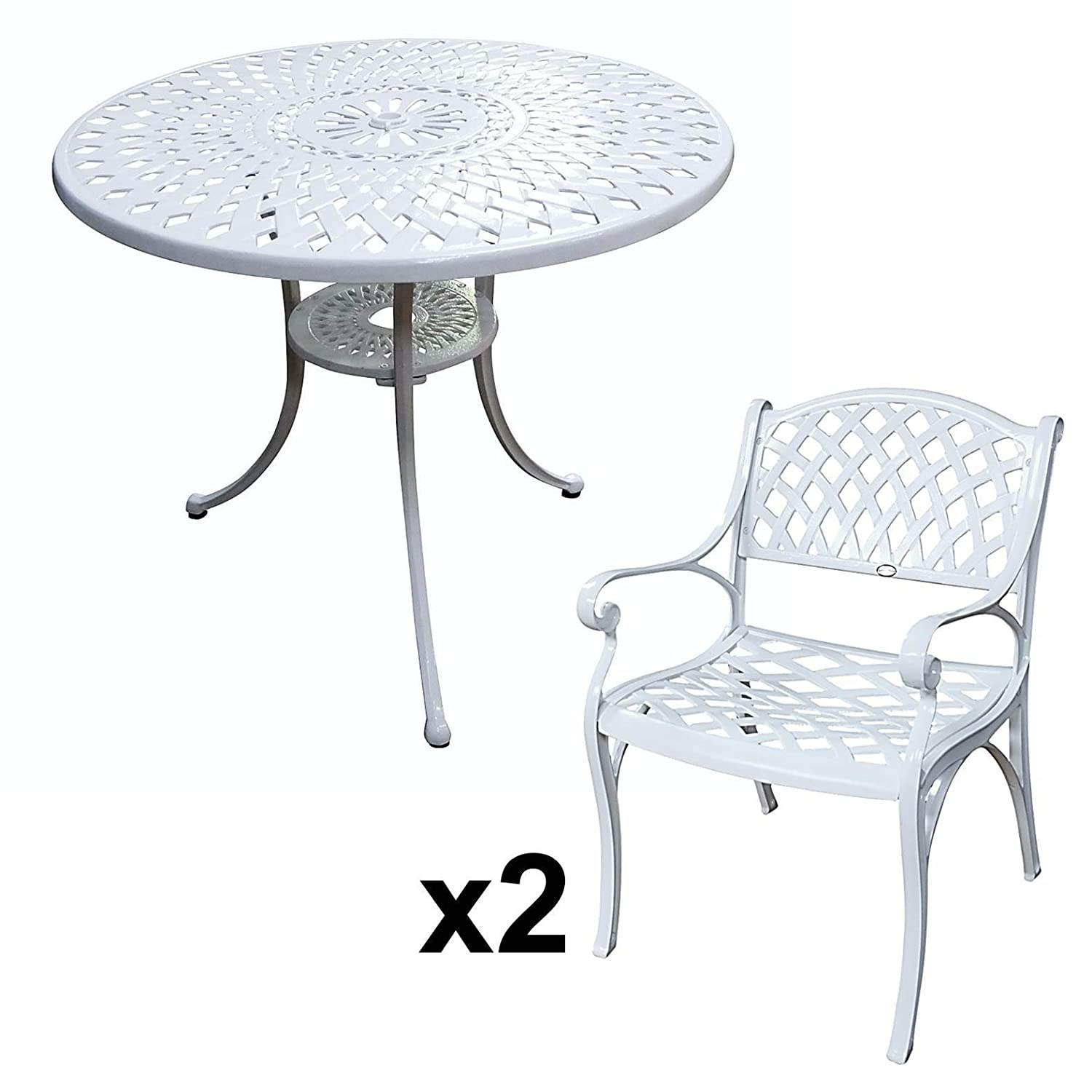 lazy susan mia 90 cm runder gartentisch mit 2 st hlen gartenm bel set aus metall wei kate. Black Bedroom Furniture Sets. Home Design Ideas
