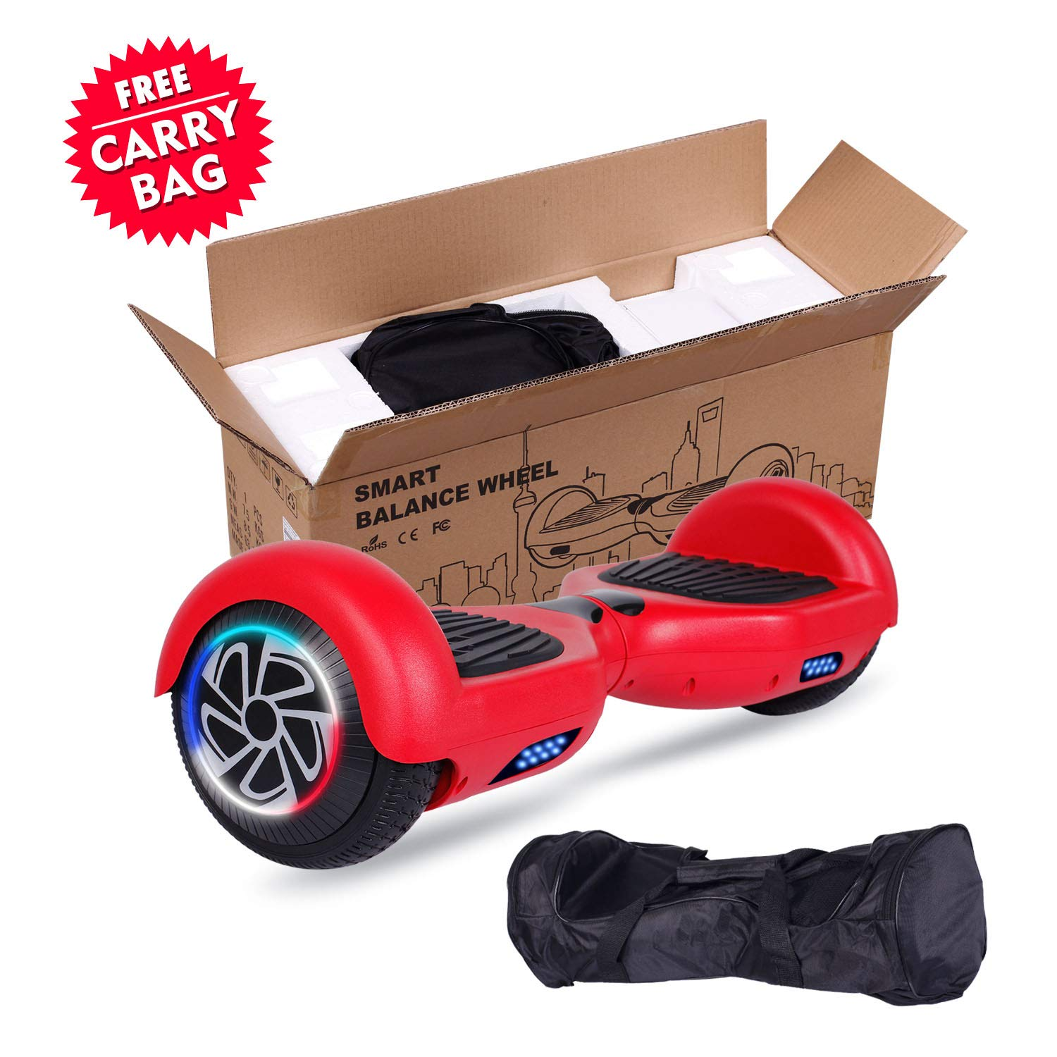 SISIGAD Hoverboard Self Balancing Scooter 6.5'' Two-Wheel Self Balancing Hoverboard with LED Lights Electric Scooter for Adult Kids Gift UL 2272 Certified - Red by SISIGAD (Image #7)