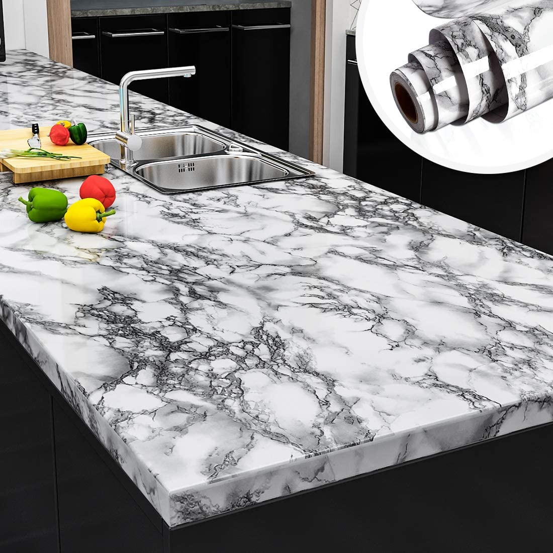 Amazon Com Yenhome Faux Peel And Stick Countertops 24 X 196 Landscape White Marble Wallpaper For Kitchen Backsplash Cabinets Cover Shelf Liner Peel And Stick Wallpaper For Bathroom Wall Decor Vinyl Film Home