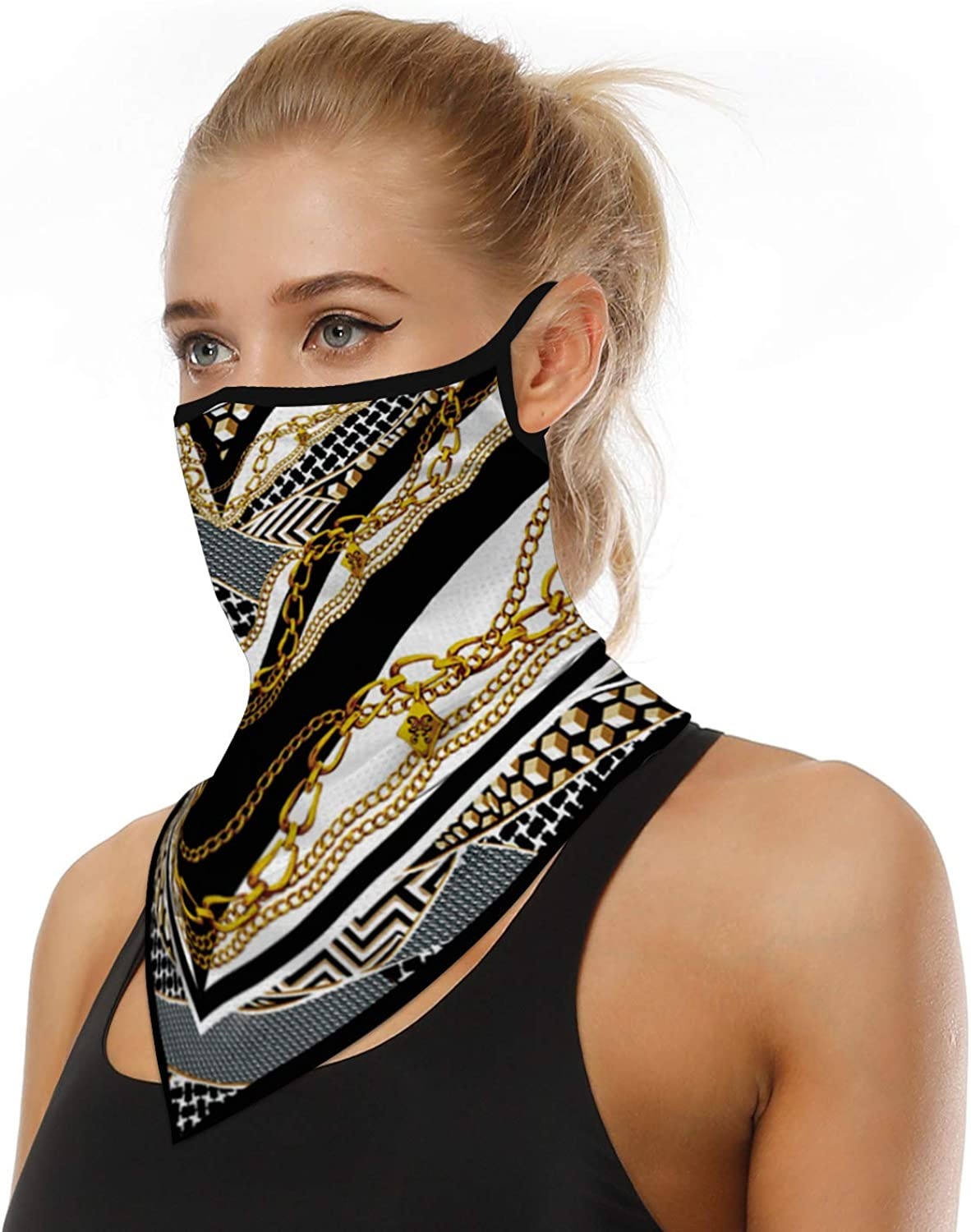 Triangle Face Bandana with Ear Loops Reusable Face Scarf for Men Women Dust Wind Outdoor Activities TIMAONE Face Cover