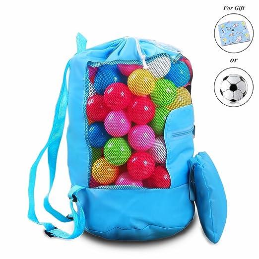 Bolsa de Malla de Playa, Kimko Bolsa de Juguetes Plegable Con Correa, Organizador de Juguetes Para Playa y Piscina, Gran Bolsa de Compra (Azul)