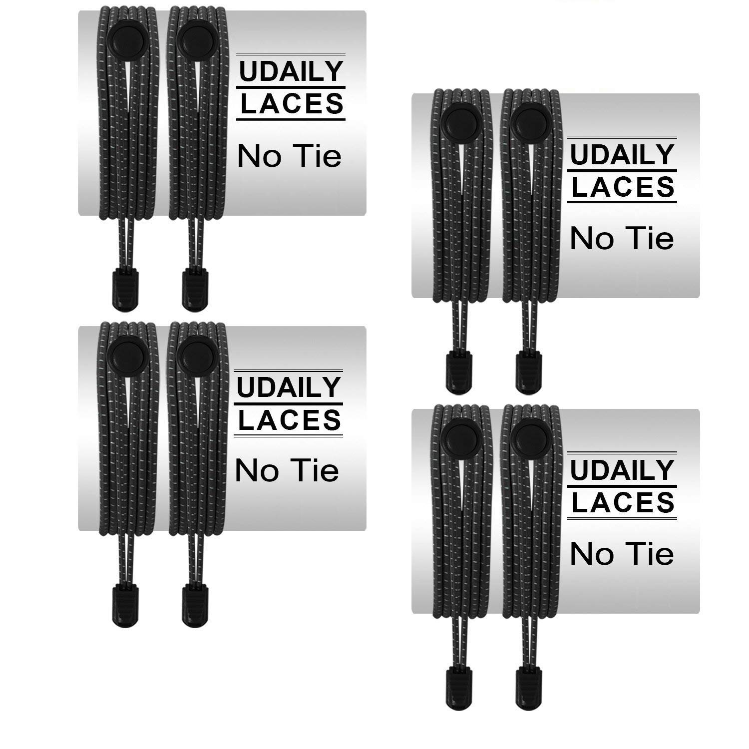 No Tie Shoelaces (pack of 4), Udaily Elastic Shoe Laces for Kids and Adults, Lock Tie Running Shoe Laces for Sneakers, Boots Board Shoes and Casual Shoes (Black)