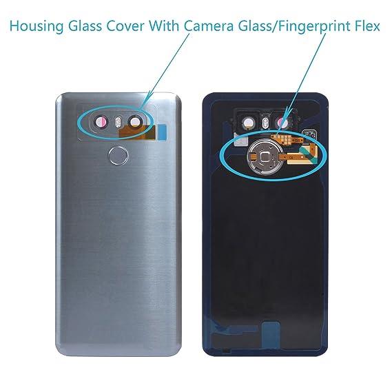 Alovexiong Rear Back Battery Cover Full Housing Glass Door Cover Panel  Assembly + Fingerprint Flex Sensor