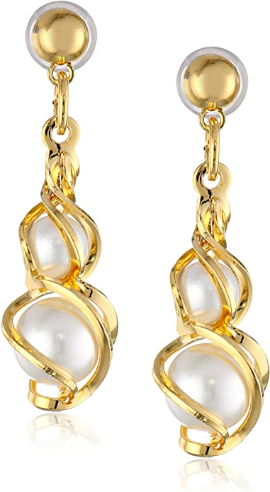 Ladies Gold Tone Simulated Pearl Filigree Leverback Earrings 1928 Boutique