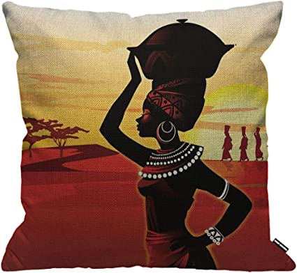 Hgod Designs Cushion Cover African Women Walking On The Desert Sunset Red Yellow Black Throw Pillow Cover Home Decorative For Men Women Boys Girls Living Room Bedroom Sofa Chair 18x18 Inch Pillowcase Amazon Co Uk Kitchen