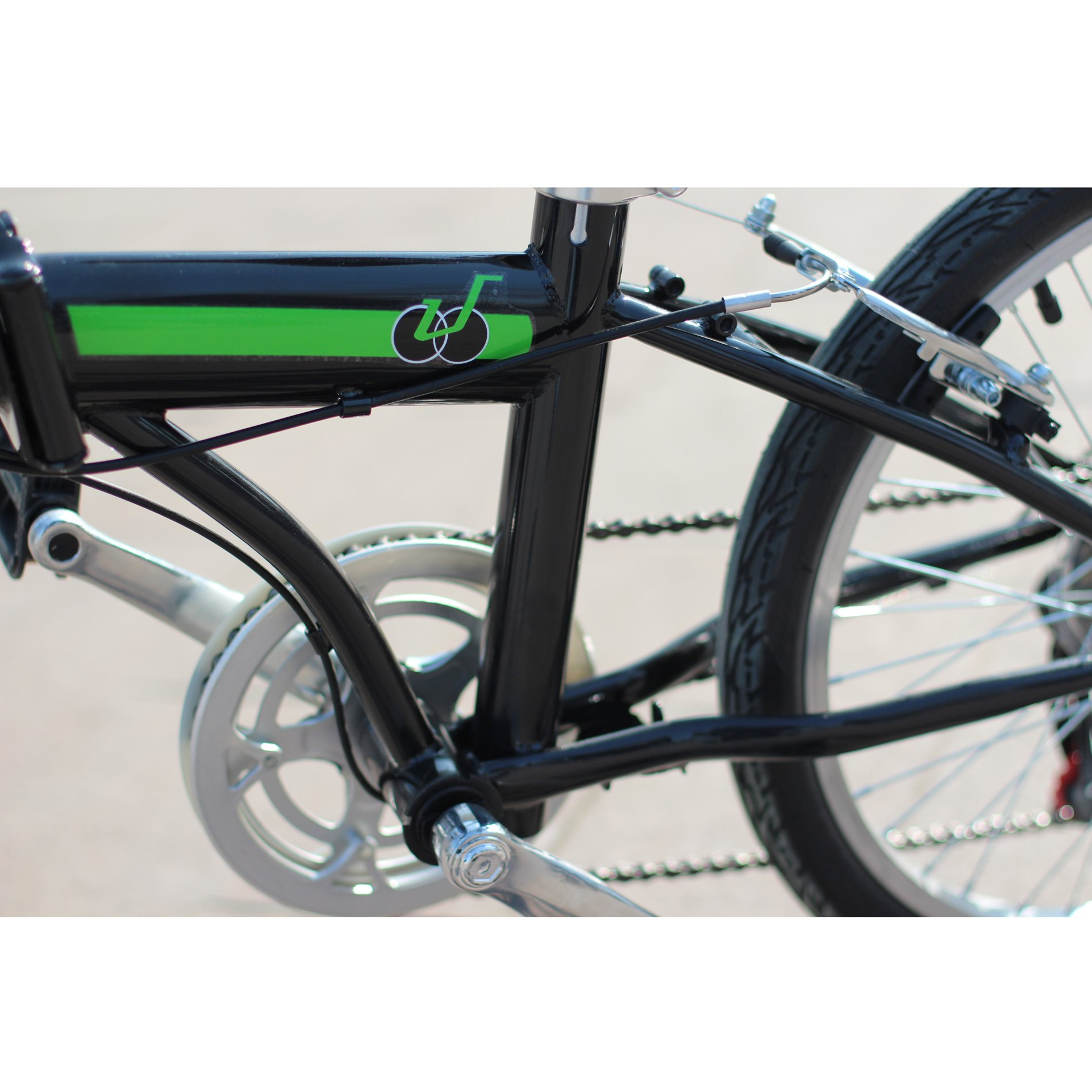 IDS Home Unyousual U Arc Folding City Bike Bicycle 6 Speed Steel Frame Shimano Gear Wanda Tire, Black by IDS Home (Image #4)
