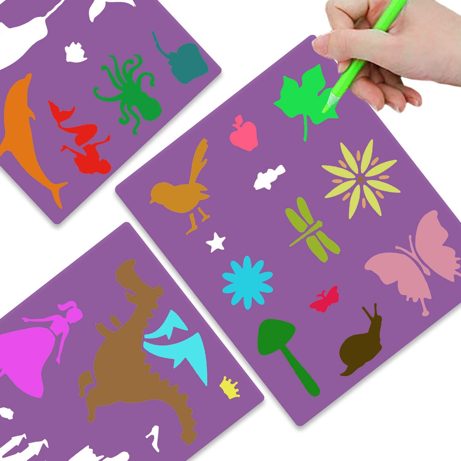 HOWAF Drawing Painting Stencils 14pcs Journal Stencils Set for Kids Crafts Reusable Letter Number Stencils Alphabet Graphics Animal Stencil for Journal Supplies DIY Scrapbooking Craft Accessories