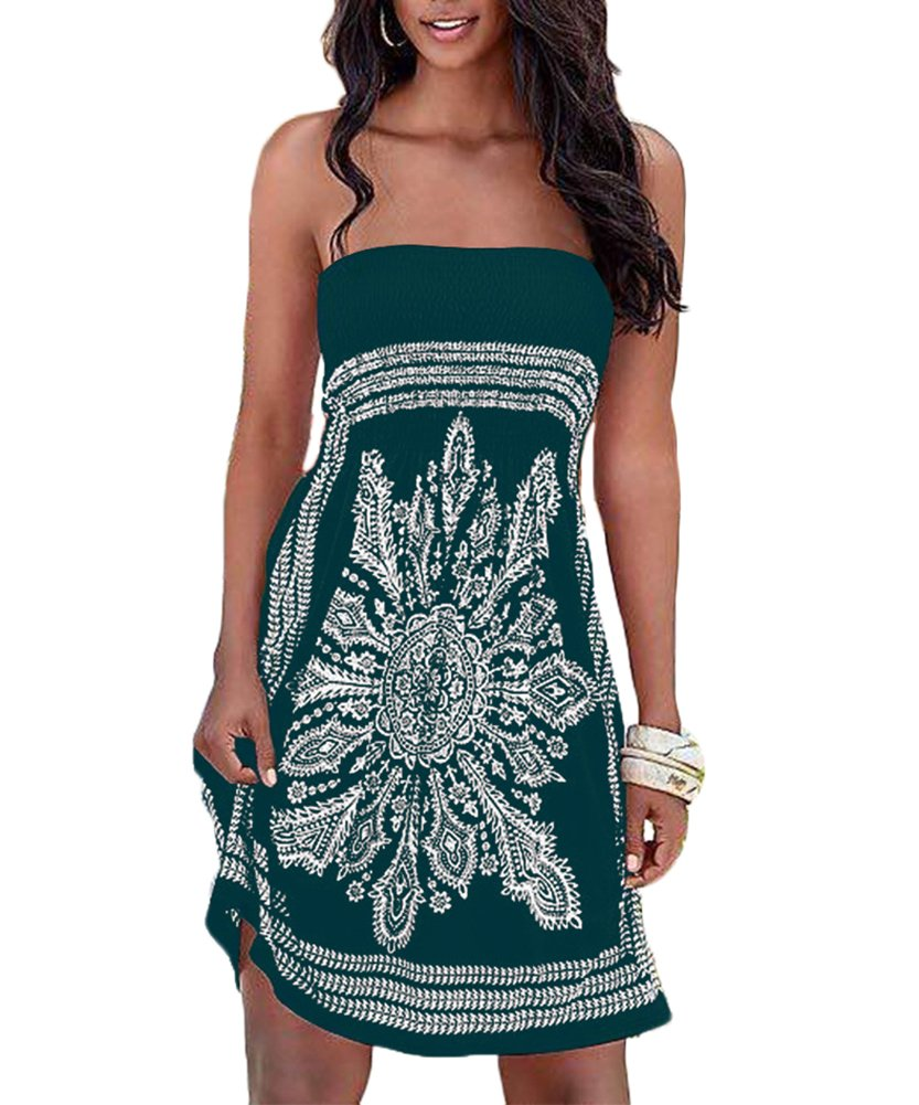 Zyyfly Women Boho Floral Print Beachwear Summer Dress Cover up Casual Dress Green XL
