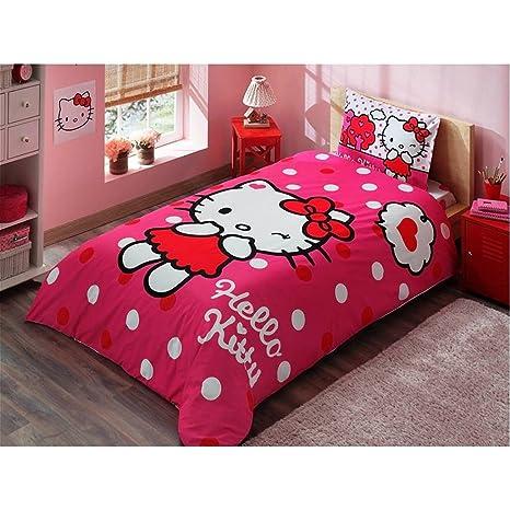 Copriletto Singolo Hello Kitty.Copripiumino Singolo Cotone 100 Hello Kitty Ragazza 3 Pz