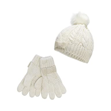 d6245262c3f2 J By Jasper Conran Girls  Cream Cable Knit Beanie With Gloves Age 3 ...