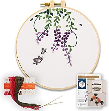 6 inch Plastic Embroidery Hoop Akacraft DIY Embroidery Starter Kit Chinese Traditional Flowers Series-Geranium Cotton Fibric with Stamped Pattern and Needles Color Threads