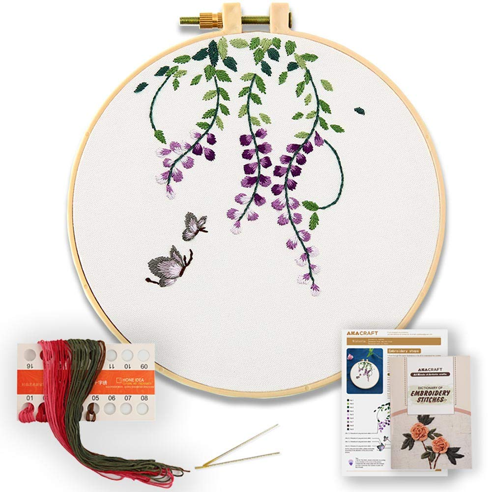 Akacraft DIY Embroidery Starter Kit 6 inch Plastic Embroidery Hoop Cotton Fibric with Stamped Pattern Chinese Traditional Flowers Series-Lotus Color Threads and Needles
