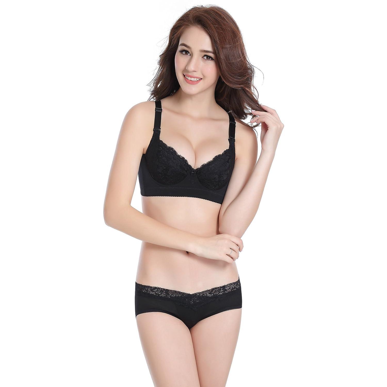0bc128b9a6 Women Plus Size Push Up Underwire Sexy Lace Bra Panty Set at Amazon Women s  Clothing store
