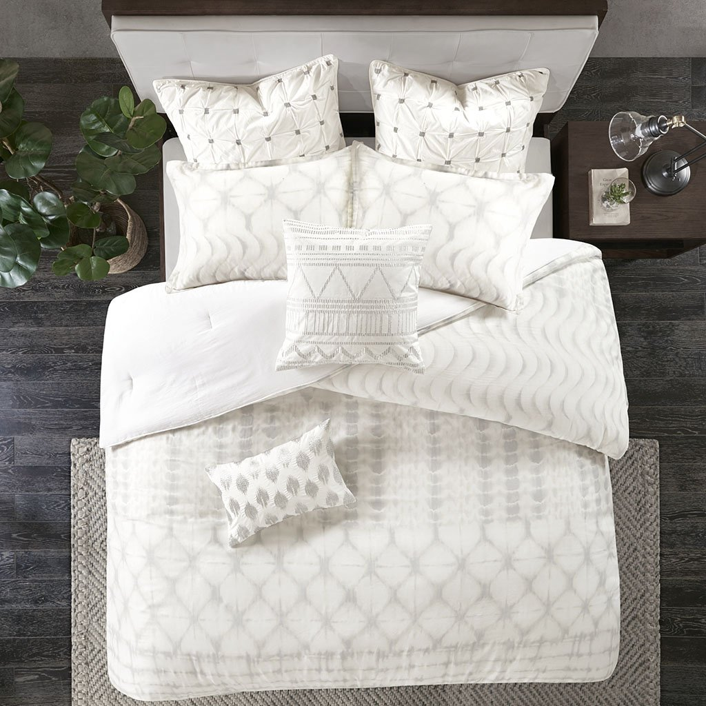 Ink+Ivy Fiji Duvet Cover King/Cal King Size - Ivory , Geometric Duvet Cover Set – 3 Piece – 100% Cotton Sateen Light Weight Bed Comforter Covers