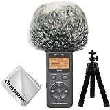 First2savvv Bonnette anti-vent Furry à l'extérieur pour enregistreurs numériques portables pour Tascam DR-05 + Trépied + chiffon de nettoyage TM-DM-DR05-H01TZ3
