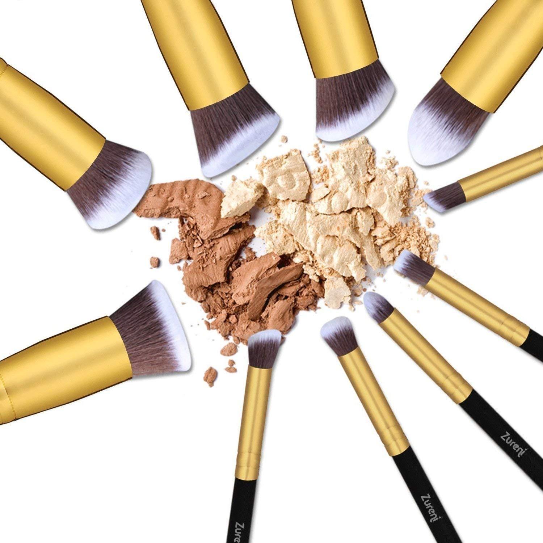 5)  Zureni Professional Makeup Brushes Kit Set Of 10 Pcs - Black