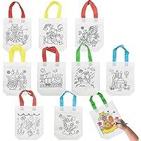 Horsande Doe-het-zelf stoffen tassen voor kinderen, vliesstof, feestzakken om te beschilderen, 36 stuks patronen, doe…