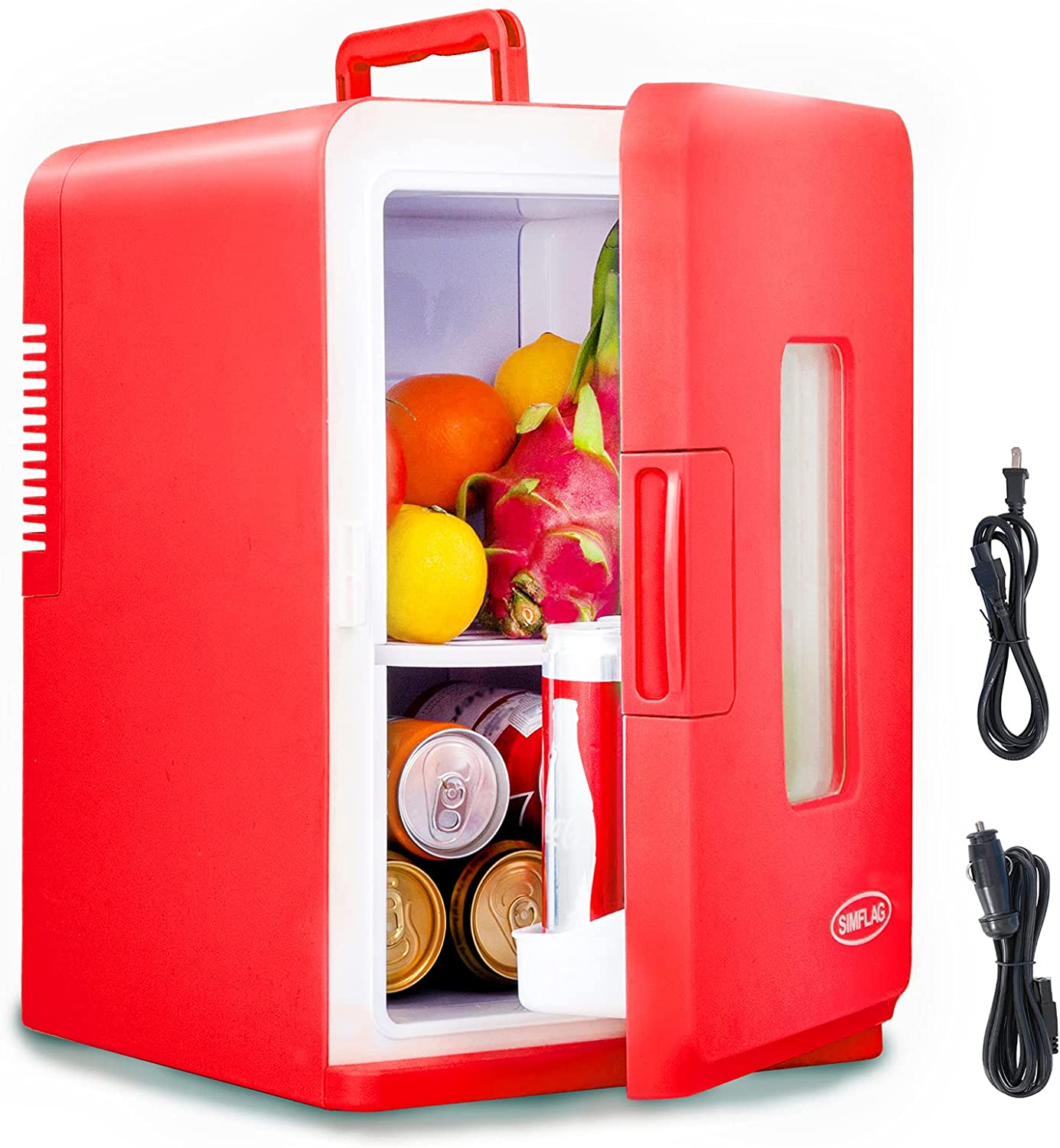 SIMFLAG Mini Fridge with Freezer 15 Liter, AC/DC Portable Fridge,Compact Cooler and Warmer Small Refridgerater for Bedroom, Home,Office,Dorm, RV,Travel, Skin Care and Foods Storage (Red)
