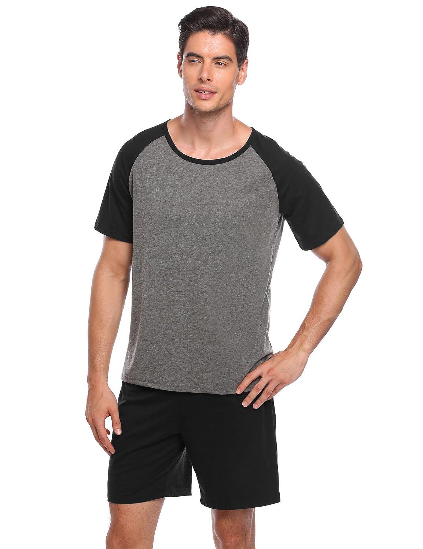Ekouaer Mens Raglan Short-Sleeve Top with Shorts Pajama Sets EKK007143