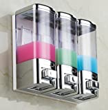 (No need Drilling) Luxury Chrome 3 Chambers Shampoo Dispenser,Shower Gel/Conditioner/Lotion Dispenser,16X3=48-Ounces GBW-8503