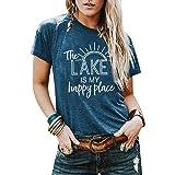 KIDDAD The Lake is My Happy Place Shirt Womens Lake Life T-Shirt Short Sleeve Summer Casual Tee Top