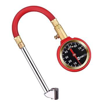 wynnsky Heavy Duty manómetro de presión de los neumáticos de aire 5 – 75psi Dial Medidor