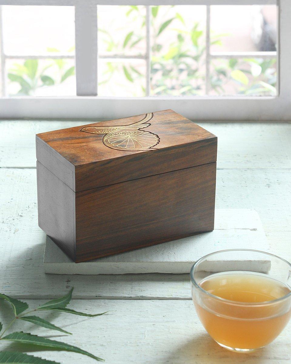 Handcrafted Wooden Tea Box Organiser Kitchen Storage Chest Condiments with Bird