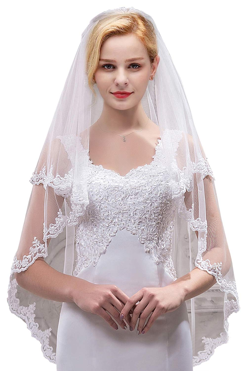 Women's Bridal Tulle Veils with Comb Lace Edge Wedding Veils for Bride,White by MisShow (Image #1)