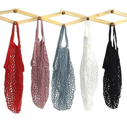 a172345f4a Mmbox - 5 borse in cotone a rete portatili/riutilizzabili/lavabili, borsa  ecologica per la spesa a manico lungo, grigio blu/nero/beige/rosa:  Amazon.it: Casa ...