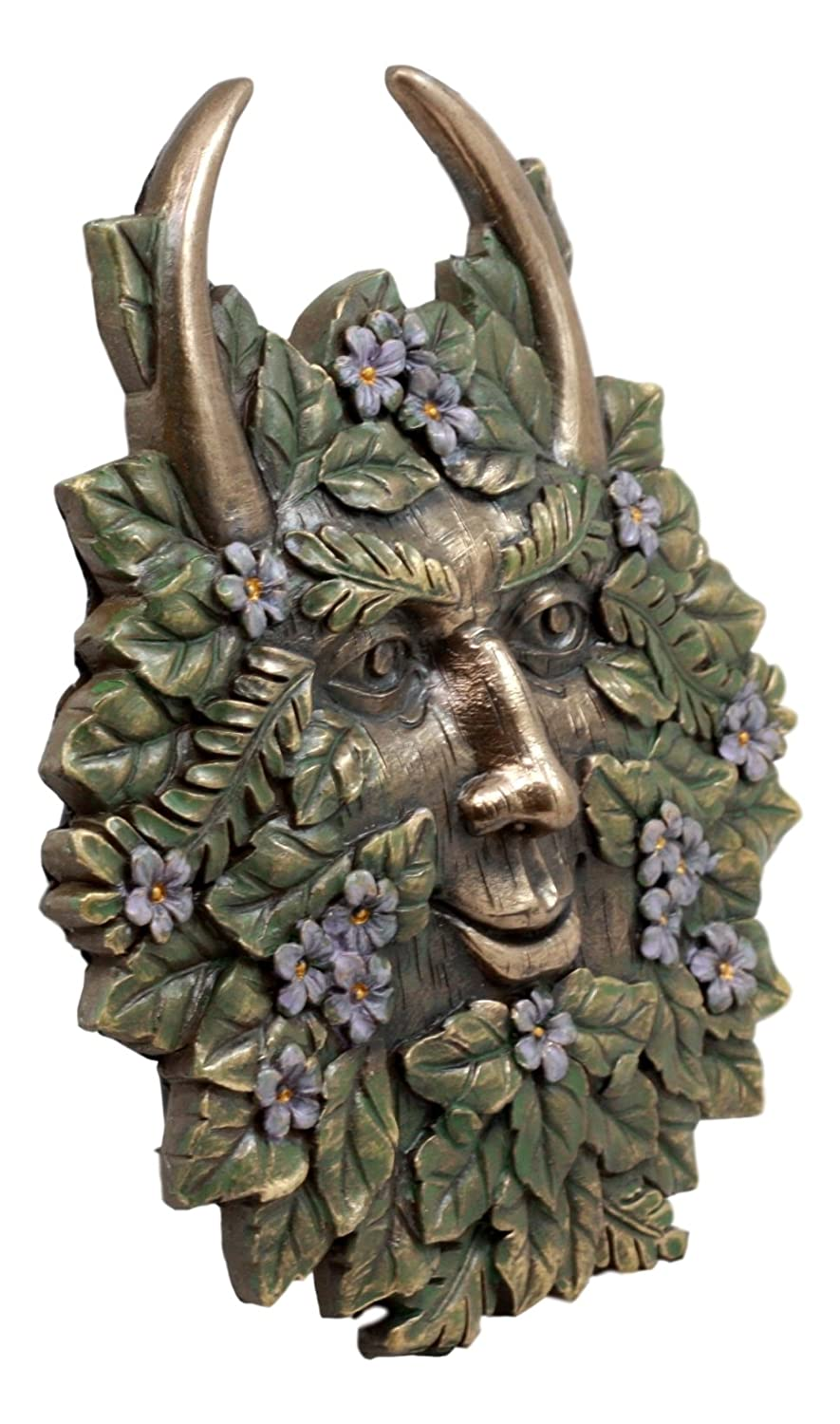 Ebros Gift The Horned God Spring Season Greenman Pan Wall Decor Plaque 7 Wide Decorative Sculpture