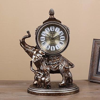 SSBY Cabecera de estilo de elefantes del reloj de péndulo creativo silencio vintage retro-reloj