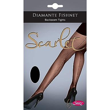 0bead6a847da4 Silky Scarlet Diamante Fishnet Backseam Tights-Black-Medium: Amazon.co.uk:  Clothing