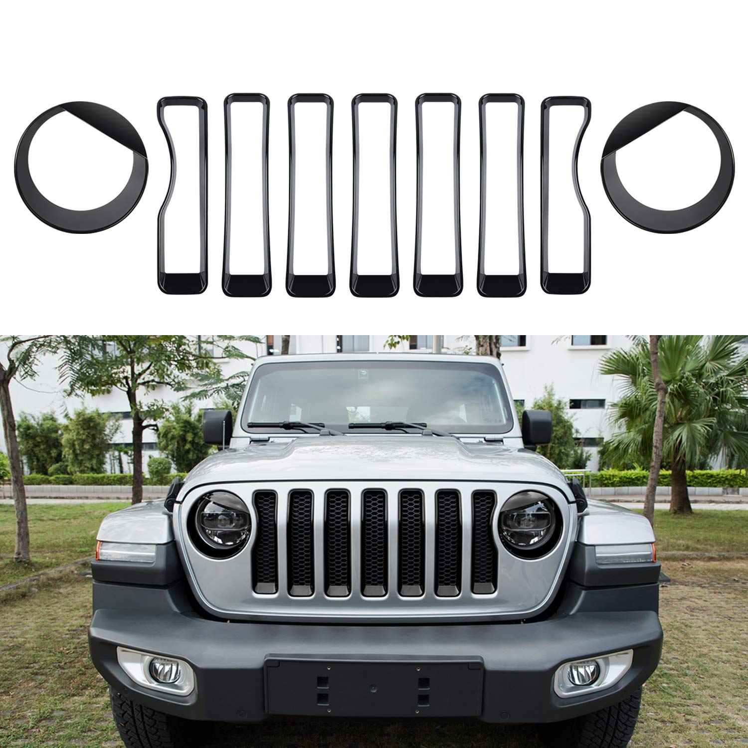 Sunluway Front Grille Inserts Guard Grill Trim Cover & Angry Bird Headlight Covers Trim for 2018 2019 Jeep Wrangler JL Sport/Sports (Pack of 9)