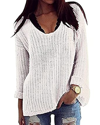 03e5a14b49 PASLTER Oversized Autumn Crewneck Loose Knit Pullover Sweater Jumper Long  Sleeve Casual Tops Blouses for Women at Amazon Women s Clothing store