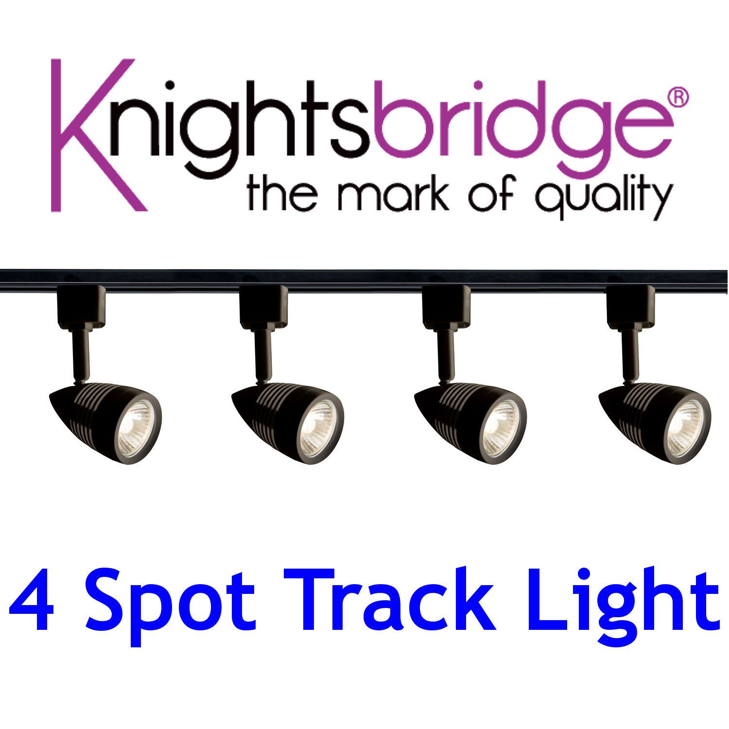 Knightsbridge Black Track Lighting Set Kit 4x Spotlight GU10 LED Spot Light 2m Shop Office Display Exibition Fitting [Energy Class A+]