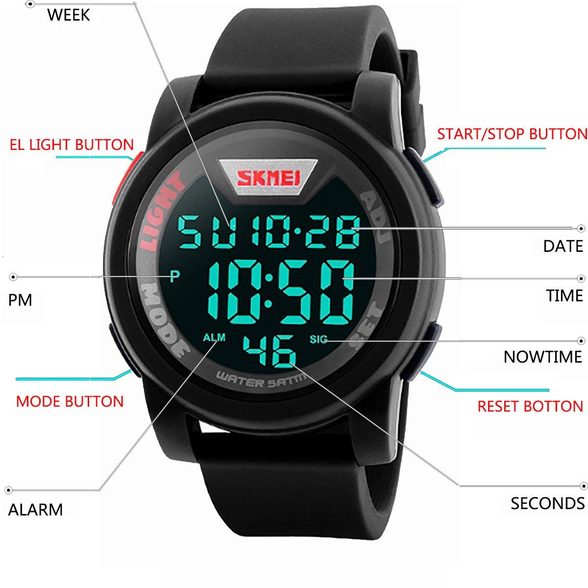 Reloj de pulsera de Longqi para hombres estilo militar y deportivo, impermeable, de silicona, digital, con pantalla LED