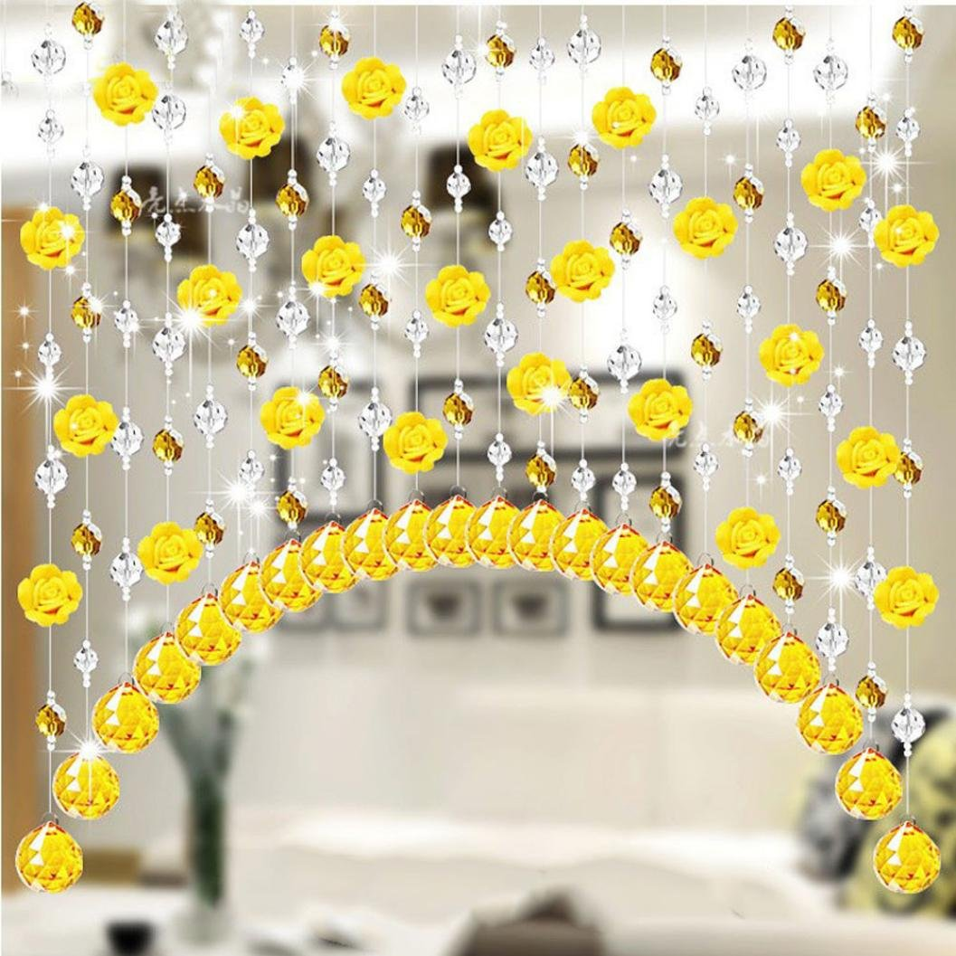 Coohole Crystal Glass Rose Bead Curtain Living Room Bedroom Window Door Wedding Home Decor (G)