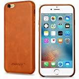 JISONCASE iPhone 6S Case Handmade Genuine Leather Back Case Slim Snug Fit Hard Protective Covers Snap on Case for iPhone 6 iPhone 6S 4.7-inch Soft Interior Classic Brown Tan JS-I6S-02A20