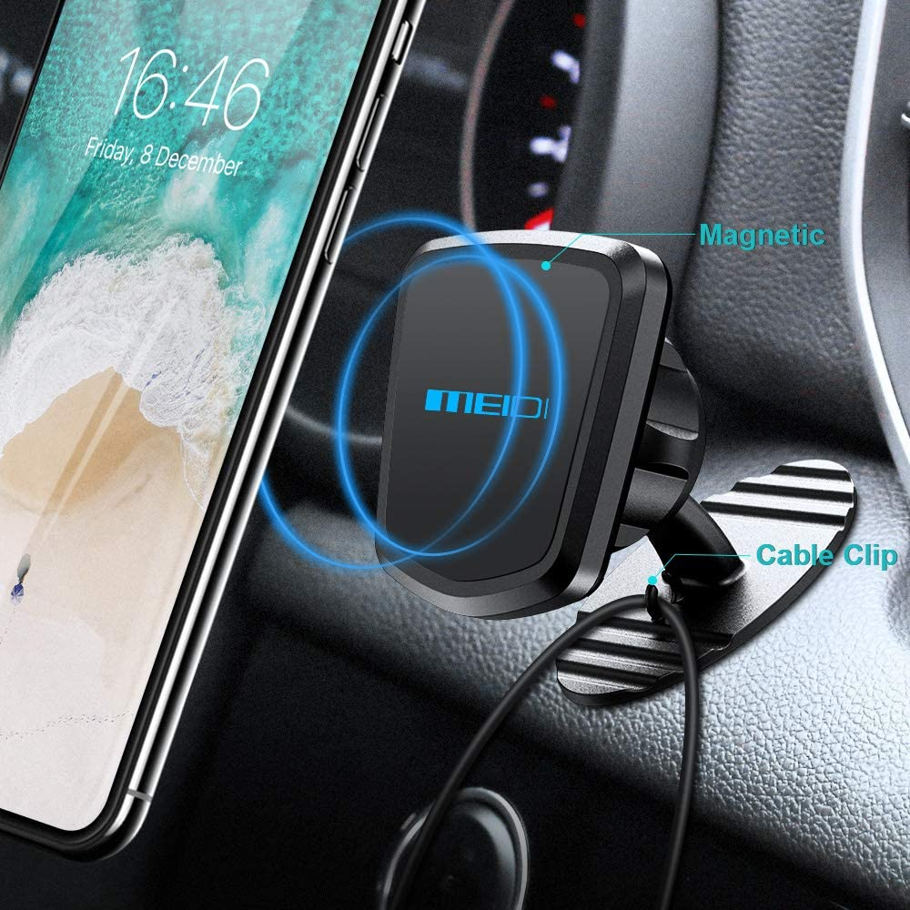Universal 360/° Rotation Dashboard Cell Phone Holder Compatible with iPhone OnePlus MEIDI Magnetic Mount Samsung HTC LG and More (Silver) Pixel