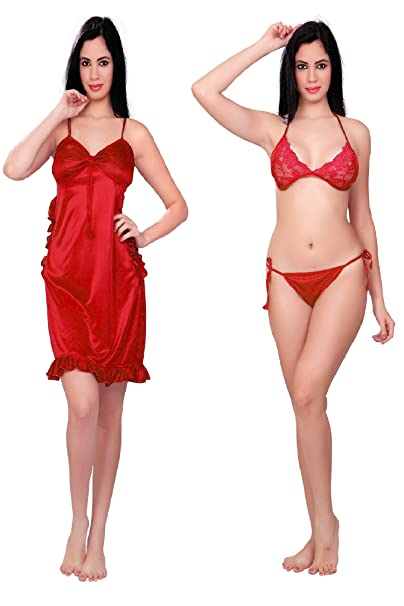 Bailey Women s Night Dress with Bra and Panty - Combo of 3 (Red ... 0c44a6f63