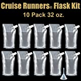 CRUISE RUNNERS® Brand Ship Kit Flask 10 32oz Sneak Alcohol Runner Rum Liquor Smuggle Booze Runners 10 x 32oz